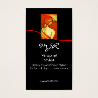 Monogram Pensive Lady Personal Stylist, red swoosh Business Card