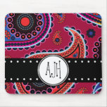 Monogram - Persian Paisley, Dots - Red Blue Pink Mouse Pad