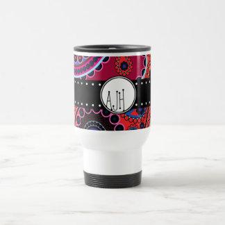 Monogram - Persian Paisley, Dots - Red Blue Pink Travel Mug