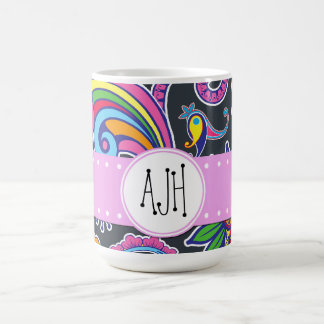 Monogram - Persian Paisley - Green Pink Blue Coffee Mug
