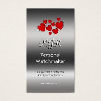 Monogram, Personal Matchmaker, metallic-effect Business Card