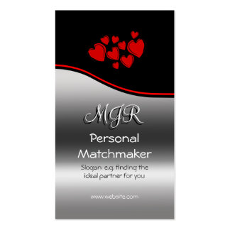Monogram, Personal Matchmaker, red swoosh Business Card