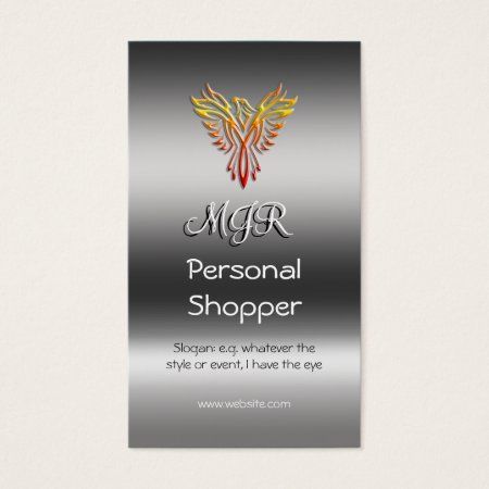 Monogram, Personal Shopper, metallic-effect Business Card