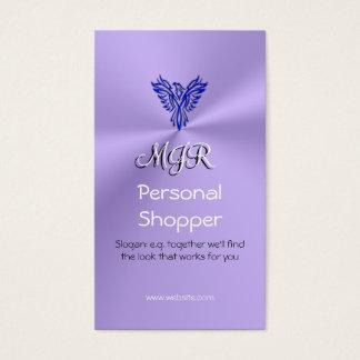 Monogram, Personal Shopper, Phoneix, Blue on Lilac Business Card