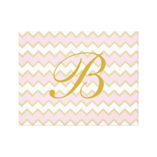 Monogram Personalized Baby Pink Gold Chevron Girl Canvas Print