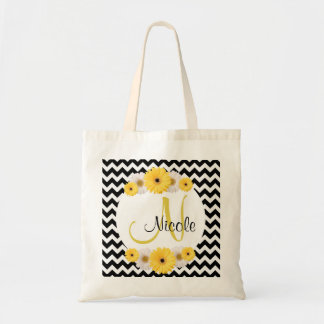Monogram Personalized black white chevron Daisy Tote Bag