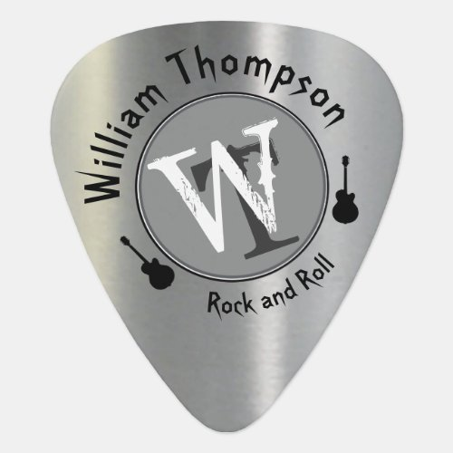 monogram _ personalized faux silver guitar pick