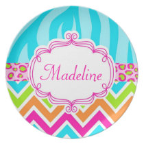 Monogram Personalized Girly Animal Print Melamine Plate