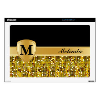 Monogram, Personalized Gold Confetti Skins For Laptops