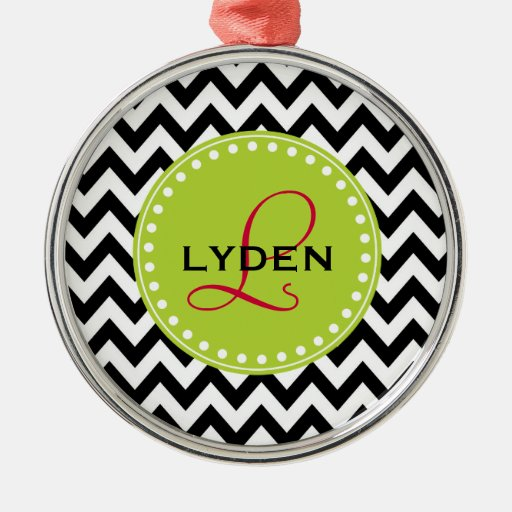 Monogram personalized holiday gift chevron stripe round metal christmas ornament