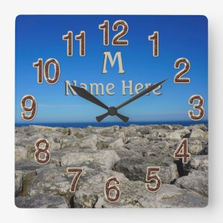 Monogram Personalized Lake House Wall Decor Clocks