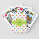 "Monogram Personalized Playing Cards<br><div class=""desc"">Pretty polka dot personalized playing cards with pretty colorful polka dots pattern let&#39;s you have fun playing cards in style. Make your own for your friends or family by personalizing them with your name or initials to give these Bicycle playing cards a your own personal monogrammed touch.</div>"