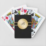 "Monogram Personalized Playing Cards<br><div class=""desc"">Monogram personalized playing cards with printed elegant gold monogram emblem space to add any name or initials. Let&#39;s you play cards in modern style. Make your own deck of cards for your friends or family and make it personal. Designed for men or women who like fancy elegant designs.</div>"