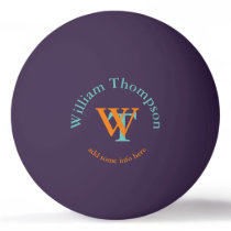 monogram - personalized purple ping pong ball