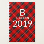 "Monogram Personalized Red Tartan Plaid Pattern Planner<br><div class=""desc"">Features a bright red and black plaid with a personalized monogram,  name and editable date 2019 in white typographic text. Edit or delete the text in the text boxes provided. View other fantastic products in our stores.</div>"