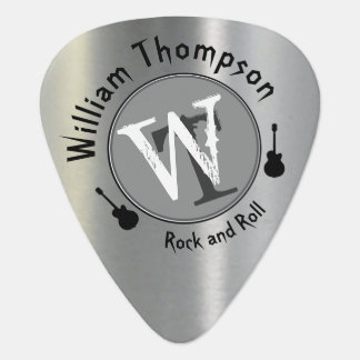 monogram - personalized silver guitar pick