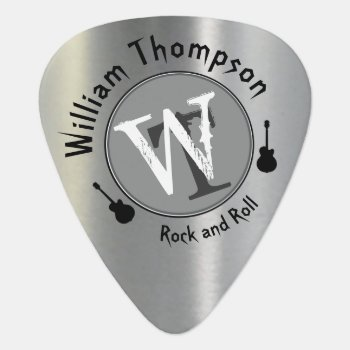 Monogram - Personalized Silver Guitar Pick by mixedworld at Zazzle