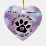 Monogram Pet Memorial Heart Ceramic Ornament
