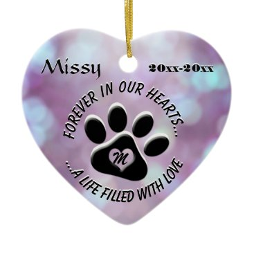 Valentines Themed Monogram Pet Memorial Heart Ceramic Ornament