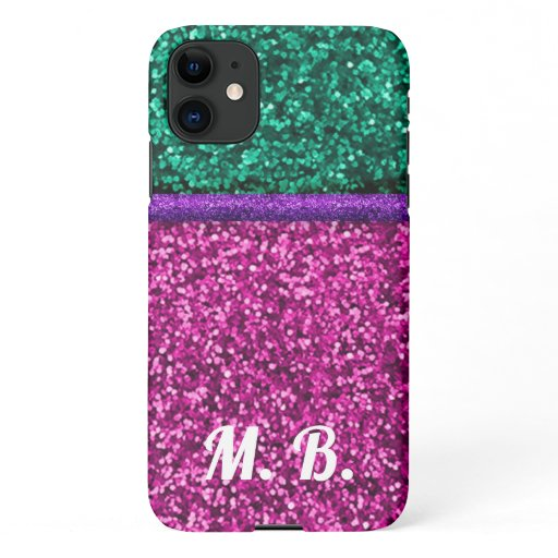 MONOGRAM PHONECASE Glitter iPhone 11 Case