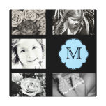 Monogram Photo Collage Wrapped Canvas Stretched Canvas Print