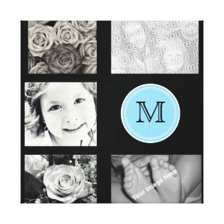 Monogram Photo Collage Wrapped Canvas