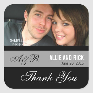 Monogram Photo Wedding Favor Stickers