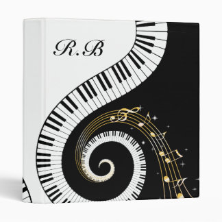 Monogram Piano Keys and  Musical Notes 3 Ring Binder