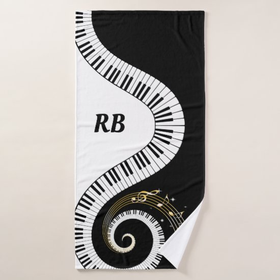 Monogram Piano Keys and Musical Notes Bath Towel Set