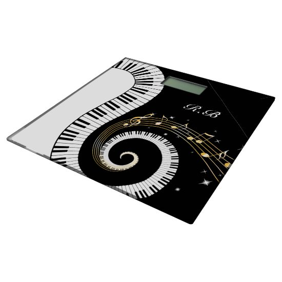 Monogram Piano Keys and  Musical Notes Bathroom Scale