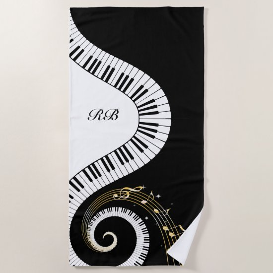 Monogram Piano Keys and Musical Notes Beach Towel