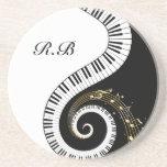 Monogram Piano Keys and  Musical Notes Beverage Coasters