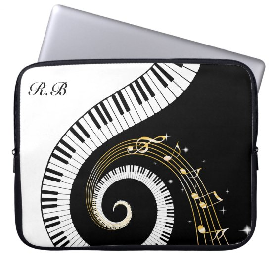 Monogram Piano Keys and  Musical Notes Computer Sleeve