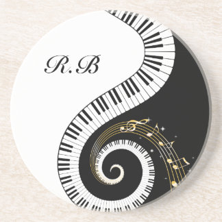 Monogram Piano Keys and  Musical Notes Drink Coaster