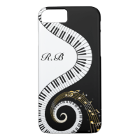 Monogram Piano Keys and  Musical Notes iPhone 7 Case