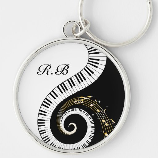 Monogram Piano Keys and  Musical Notes Key ring Keychains