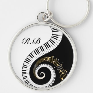 Monogram Piano Keys and Musical Notes Keychain
