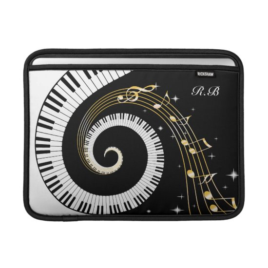 Monogram Piano Keys and  Musical Notes MacBook Sleeve