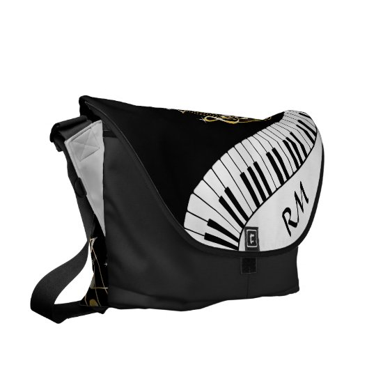 Monogram Piano Keys and  Musical Notes Messenger Bag