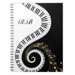 Monogram Piano Keys and  Musical Notes Spiral Note Books