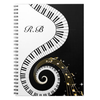 Monogram Piano Keys and  Musical Notes Notebook