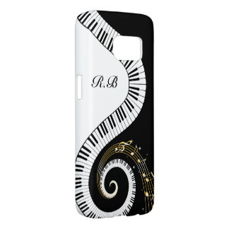 Monogram Piano Keys and  Musical Notes Samsung Galaxy S7 Case