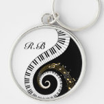 Monogram Piano Keys and Musical Notes Silver-Colored Round Keychain