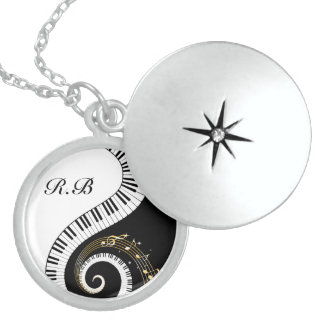 Monogram Piano Keys and  Musical Notes Sterling Si Round Locket Necklace