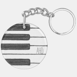 Monogram Piano Keys Black and White Keychain