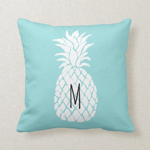 monogram pineapple on limpet shell pastel blue throw pillow Zazzle