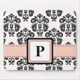 Monogram Pink and Black Damask Mouse Pad mousepad