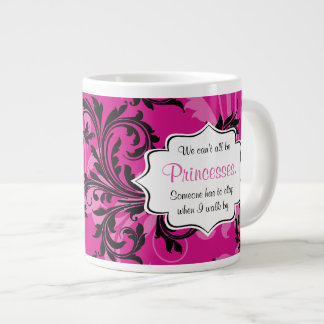 Monogram Pink and Black Scrolled Jumbo 20 oz. Mug