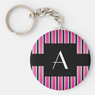 Monogram Pink and black stripes Basic Round Button Keychain