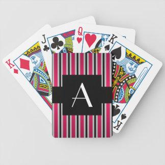 Monogram Pink and black stripes Bicycle Poker Cards